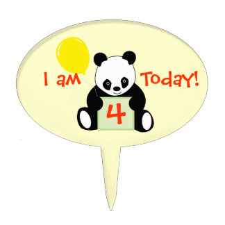 Panda With Ballon Customizable Name Age & More Cake Toppers