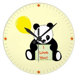Panda With Ballon Customizable Name Age & More Wall Clock
