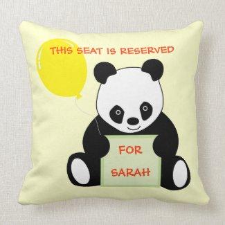 Panda With Ballon Customizable Name Age & More Pillows