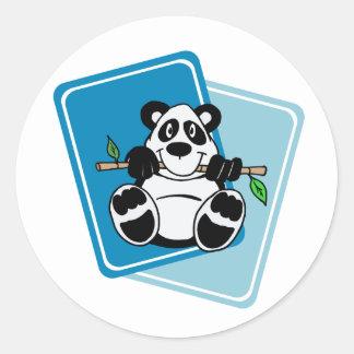 Panda with Bamboo Classic Round Sticker