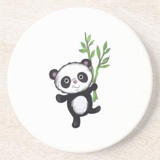 PANDA WITH BAMBOO BEVERAGE COASTERS