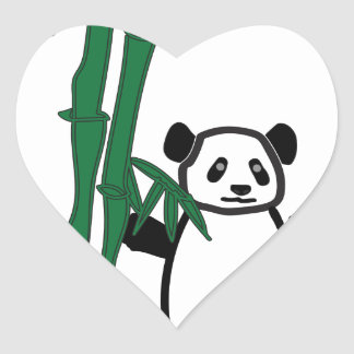Panda with Bamboo Heart Sticker