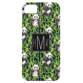 Panda With Bamboo Watercolor Pattern   Monogram iPhone SE/5/5s Case