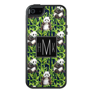 Panda With Bamboo Watercolor Pattern   Monogram OtterBox iPhone 5/5s/SE Case