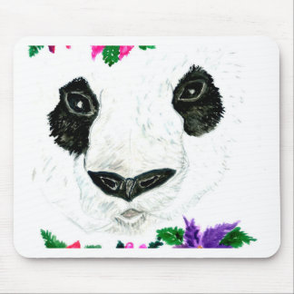 Panda with Flowers Mouse Pad