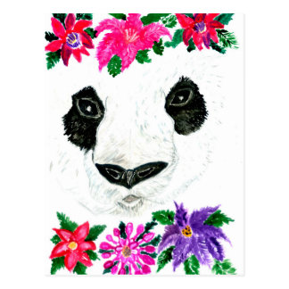 Panda with Flowers Postcard