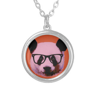Panda with glasses in orange silver plated necklace
