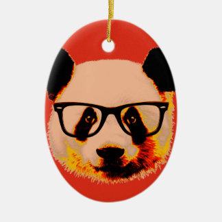 Panda with glasses in red ceramic ornament