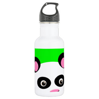 Panda with Green Background Water Bottle