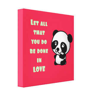 Panda with Inspirational Love Quote Canvas Print