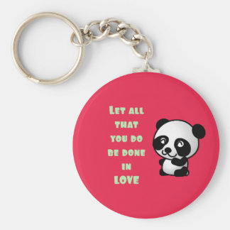 Panda with Inspirational Love Quote Keychain