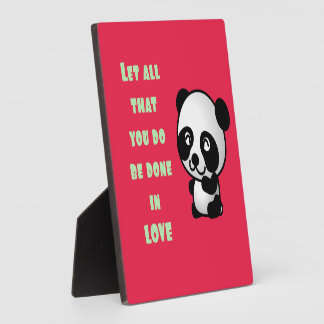 Panda with Inspirational Love Quote Photo Plaques