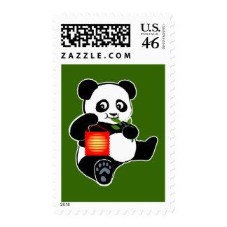 Panda with lantern postage stamp
