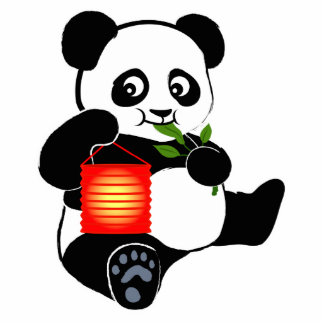 Panda with lantern statuette