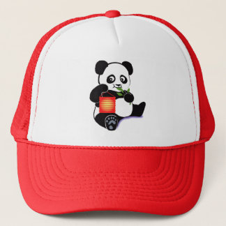 Panda with lantern trucker hat