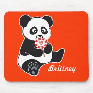 Panda with lollipop mouse pad
