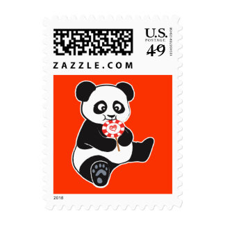 Panda with lollipop postage stamps