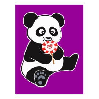Panda with lollipop postcard