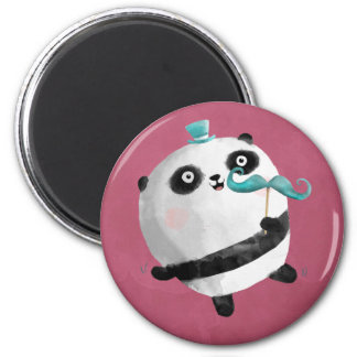 Panda with Mustaches 2 Inch Round Magnet