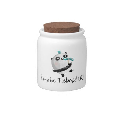Panda with Mustaches Candy Jar