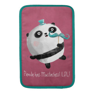 Panda with Mustaches MacBook Sleeves