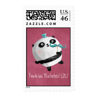 Panda with Mustaches Postage Stamps