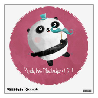 Panda with Mustaches Wall Decal