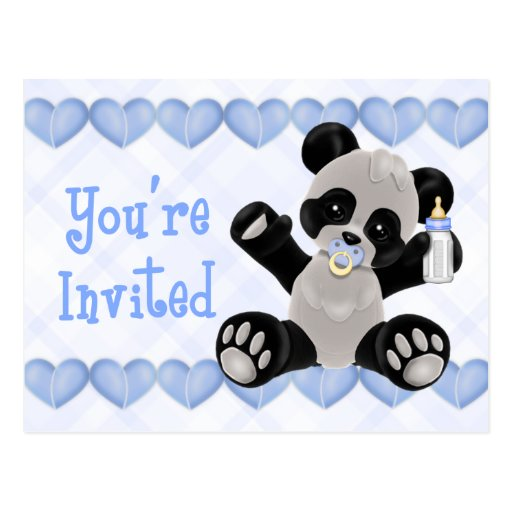 Panda with Pacifier Blue Baby Shower Invitation Postcard