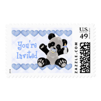 Panda with Pacifier Blue Hearts Boy Baby Shower Stamps