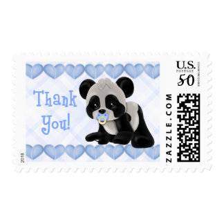 Panda with Pacifier Blue Hearts Thank You Postage