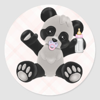 Panda with Pacifier Pink Baby Girl Classic Round Sticker