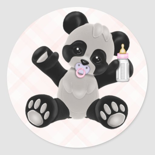Panda With Pacifier Pink Baby Girl Classic Round Sticker Zazzle