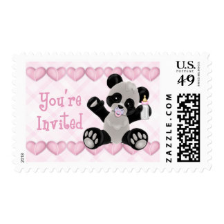Panda with Pacifier Pink Hearts Girl Baby Shower Stamp