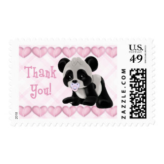 Panda with Pacifier Pink Hearts Thank You Postage Stamp
