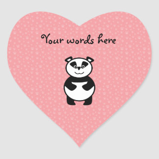 Panda with pink paw background stickers