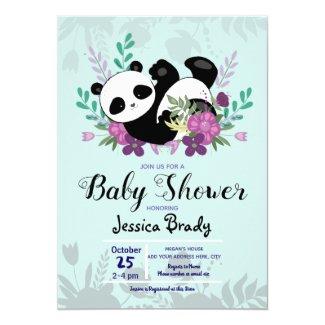 Panda with Purple Flowers Baby Shower Invitation