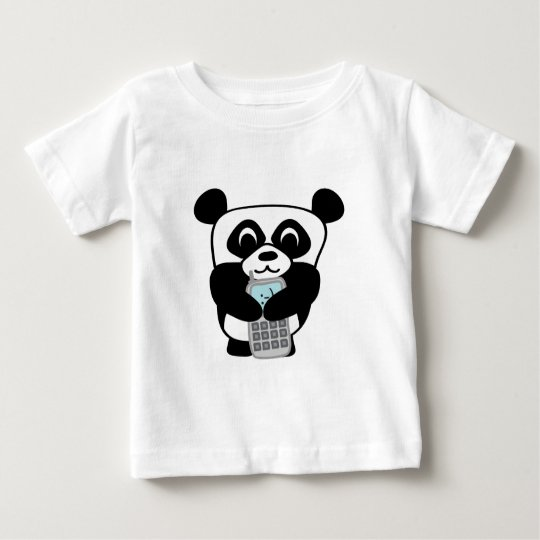 Panda with Silver Cell Phone Baby T-Shirt