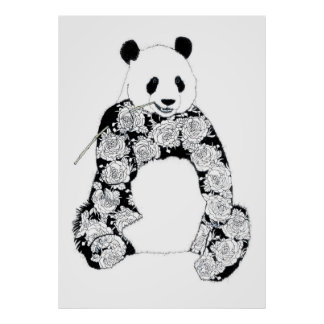 Panda With Tattoo Roses Pattern Posters