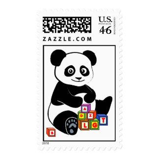 Panda with toy blocks postage