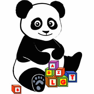 Panda with toy blocks statuette