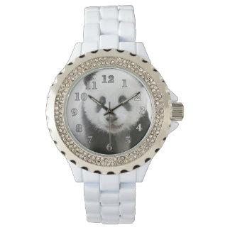 Panda Women's Rhinestone White Enamel Watch