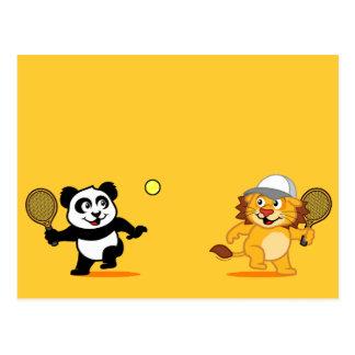 Panda y león del tenis postales