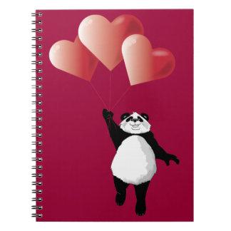 Panda y libreta de los globos