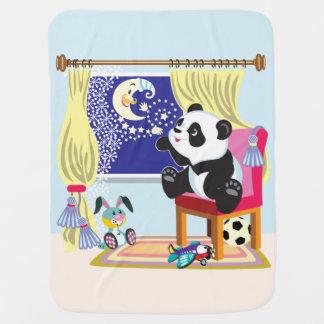 panda y luna del dibujo animado mantita para bebé
