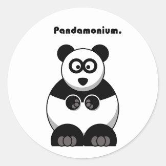 Pandamonium Panda Cartoon Round Sticker
