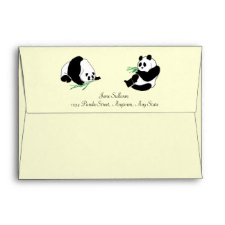 Pandas and Bamboo on an Envelope