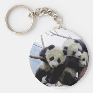 pandas basic round button keychain