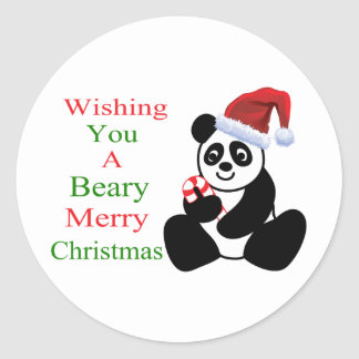 Pandas Beary Merry Christmas Classic Round Sticker