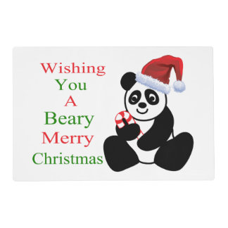 Pandas Beary Merry Christmas Placemat
