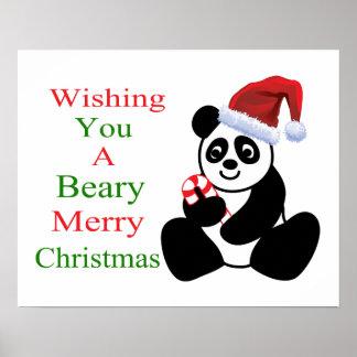 Pandas Beary Merry Christmas Poster